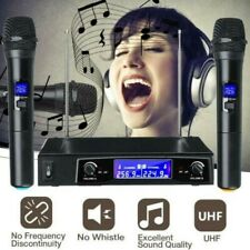 Vocal Karaoke Wireless Microphone System Dual Handheld 2 x Mic Cordless Receiver