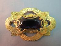 Antique Sash Pin Purple Stone Oval Faceted Hammered Layer Art Nouveau Brooch Vtg