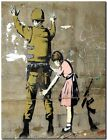 "BANKSY STREET ART CANVAS PRINT Girl Searches soldier 8""X 12"" stencil poster"