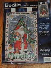 "BUCILLA CHRISTMAS ADVENT CALENDAR w/CHARMS 12.25"" X 19.5"" CROSS STITCH KIT 83698"