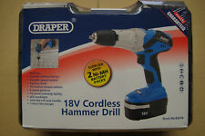 Draper 18V Cordless Hammer Drill Driver Two Ni-MH Batteries & Carry Case 83578