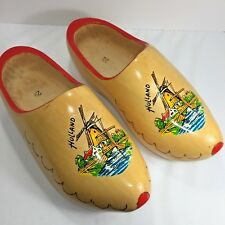 Sz 29 Vintage Hand Carved Painted Dutch Wooden Shoes Clogs Holland Windmill Wood