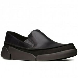 TRI STEP LADIES CLARKS SLIP ON BLACK LEATHER SHOES LIGHTWEIGHT CASUAL 8/42 D