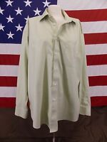 JOSEPH & FEISS Dress Shirt Non-Iron Green Striped Men's Size 17 34/35