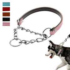 Martingale Dog Collar Leather Half Choke/Check Training Dog Chain Collar Large