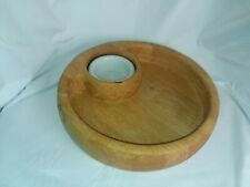Gourmet Wooden Server With White Porcelain Dipping Bowl