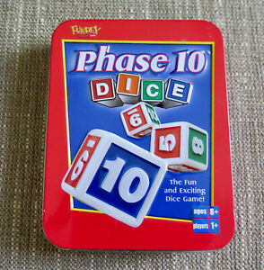 Phase 10 Dice Game 2004 Fundex - COMPLETE in Red Tin