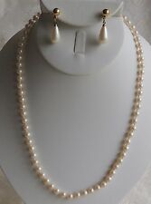 Estate Beautiful Classic Faux KNOTTED Pearl Necklace with Pierced Drop Earrings