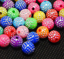 100 acryl fancy Mix Perlen Kinderperlen mit Strasseffekt 8 mm Kugel Loch 1 mm