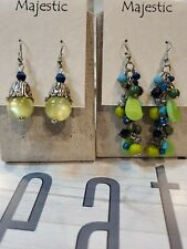 Brand New On The Card Fish Hook Earrings Blues And Greens