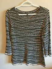 Eileen Fisher Women's Sweater Tunic Black And White Mesh 3/4 sleeve Size PM