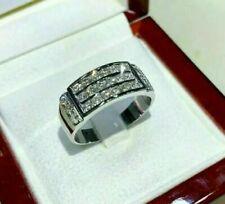Men's 14k White Gold Finish 1.50Carat Round Diamond Engagement Wedding Band Ring