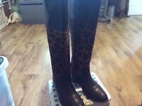 LADIES NEXT UK6 BROWN LEATHER/PONY HAIR ANIMAL PRINT KNEE HIGH ZIP UP BOOTS