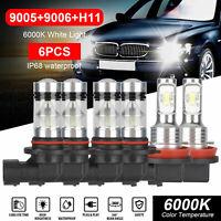 9005 9006 H11 Combo CREE LED Headlight Fog Light Bulb 6000K White High Low Beam