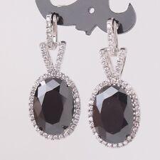 MODOU Vintage Oval Cut Black Sapphire 18K White Gold Filed Drop/Dangle Earrings