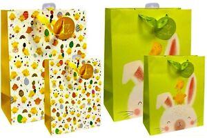 🎁Large Medium Luxury Design Happy Easter Gift Bag & Handles Present Rabbit Egg