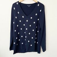 TOMMY HILFIGER Navy Metallic Silver Polka Dot V-Neck Cotton Sweater Women's XL