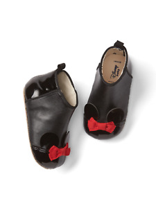 NEW Girls Baby Gap Disney Minnie Mouse Black Patent Bootie Shoes 3-6 Months NWT