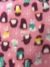 "HOLIDAY PENGUINS & RABBITS PINK POLAR FLEECE FABRIC - 60"" WIDE BLANKETS PAJAMAS"