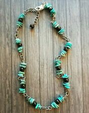 Silpada Necklace N1302 Sterling Silver Linked Turquoise Chips Faceted Onyx Bead
