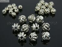 Tibetan Silver Round Lantern Pumpkin Spacer Loose Beads Connector 4mm 6mm 8mm
