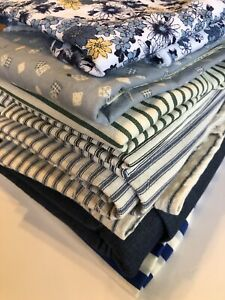 Huge Lot 8 Lbs! 12+ Yards Vintage Denim Blue Stripe Quilted Fabric Material