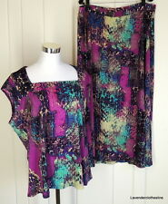 Jones New York 2x Purple Pink Teal Gold Stretch Knit Maxi Skirt & Top Set Outfit