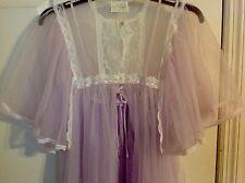 Lavender Nightgown & Chiffon Negligee Robe w White Lace Trim Sz-Lg New w Tags