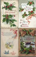 Vintage Assorted Christmas Postcards Circa 1800's-1900's Lot of 5 +