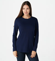 Isaac Mizrahi Live! Essentials Pima Cotton Crew Neck Knit Top - Dark Navy - XXS