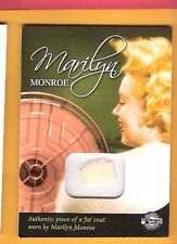 MARILYN MONROE WORN USED FUR COAT PIECE RELIC MEMORABILIA CARD 2008 BREYGENT