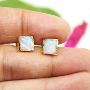 Natural Raw Moonstone June Birthstone Yellow Gold Plated Stud Earring For Her