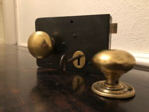 Large Door Rim Lock with a key and Lovely Brass Knobs  DH2141