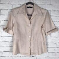 Lafayette 148 Womens Peach Size 8 100% Linen Short Sleeve Button Front Blouse