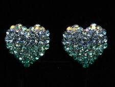 Aqua water blue crystal love heart silver tone clip earrings fashion jewerly T15