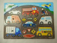 Melissa & Doug Transportation Wooden Peg Puzzle 6 Pieces Learning Small Kids