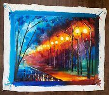 Original Leonid Afremov Oil Painting - titled 'BLUE NIGHT'