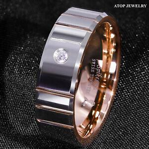 8mm Polish Silver Rose Gold Tungsten Ring Diamond Men Wedding ring ATOP Jewelry