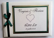 PERSONALISED WEDDING GUEST BOOK (GREEN) WITH MUSICAL NOTES  - ANY COLOUR