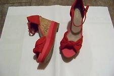womens old navy red & pink fabric ankle strap cork wedge heels shoes size 6