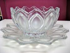 Vintage 1976 2PC Bohemian Czech Glass Clear & Satin Tulip Bowl & Matching Plate
