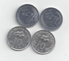 4 DIFFERENT 10 SEN COINS from MALAYSIA (2010, 2011, 2012 & 2013)