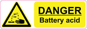 DANGER BATTERY ACID health and safety signs stickers warning 300 x 100 mm