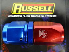 Russell 610030 Hose End Fitting Straight Full Flow AN8 -8 Red Blue Aluminum
