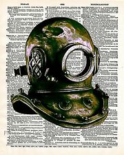 Deep Sea Diving Art Print 8 x 10 - Dictionary Page - Diver Mask - Steampunk