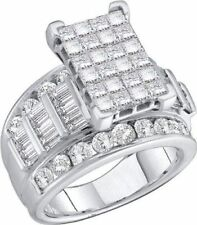 14K White Gold Invisible Set Square Princess Cut D/VVS1 Wedding Engagement Ring