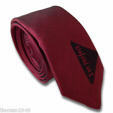 "Exclusive Dark Red SILK Skinny Retro Tie With ""I'm Perfect"" motif at the front"