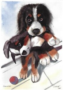 original painting A4 191LM art watercolor Realism animal dog puppy with a toy