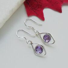 Amethyst lila violett edel elegant Ohrringe, Ohrhänger, 925 Sterling Silber, neu