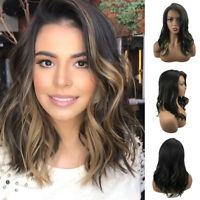 Ombre Dark Brown Hair Wig Long Curly Wave Synthetic Wigs For Women Cosplay Party